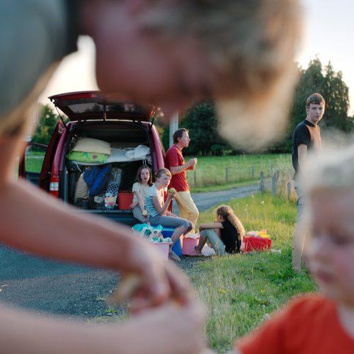 pause pique-nique au bord de la route, Limousin